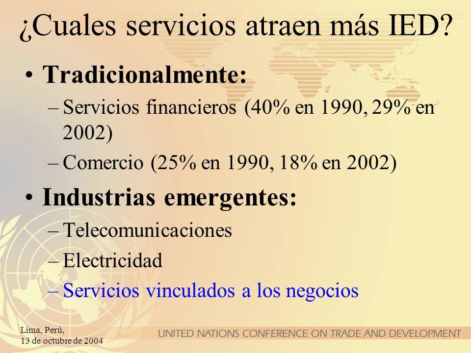 Lima, Perú, 13 de octubre de 2004 ¿Cuales servicios atraen más IED? Tradicionalmente: –Servicios financieros (40% en 1990, 29% en 2002) –Comercio (25%