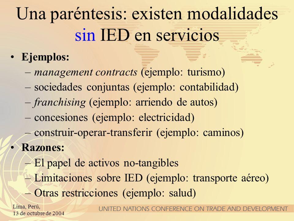 Lima, Perú, 13 de octubre de 2004 Una paréntesis: existen modalidades sin IED en servicios Ejemplos: –management contracts (ejemplo: turismo) –socieda