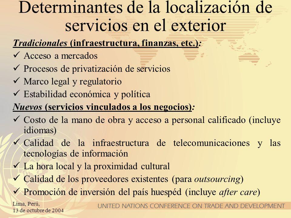 Lima, Perú, 13 de octubre de 2004 Determinantes de la localización de servicios en el exterior Tradicionales (infraestructura, finanzas, etc.): Acceso