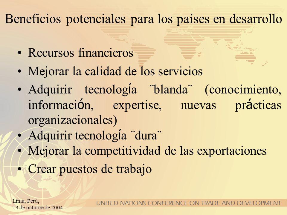 Lima, Perú, 13 de octubre de 2004 Beneficios potenciales para los países en desarrollo Recursos financieros Mejorar la calidad de los servicios Adquir