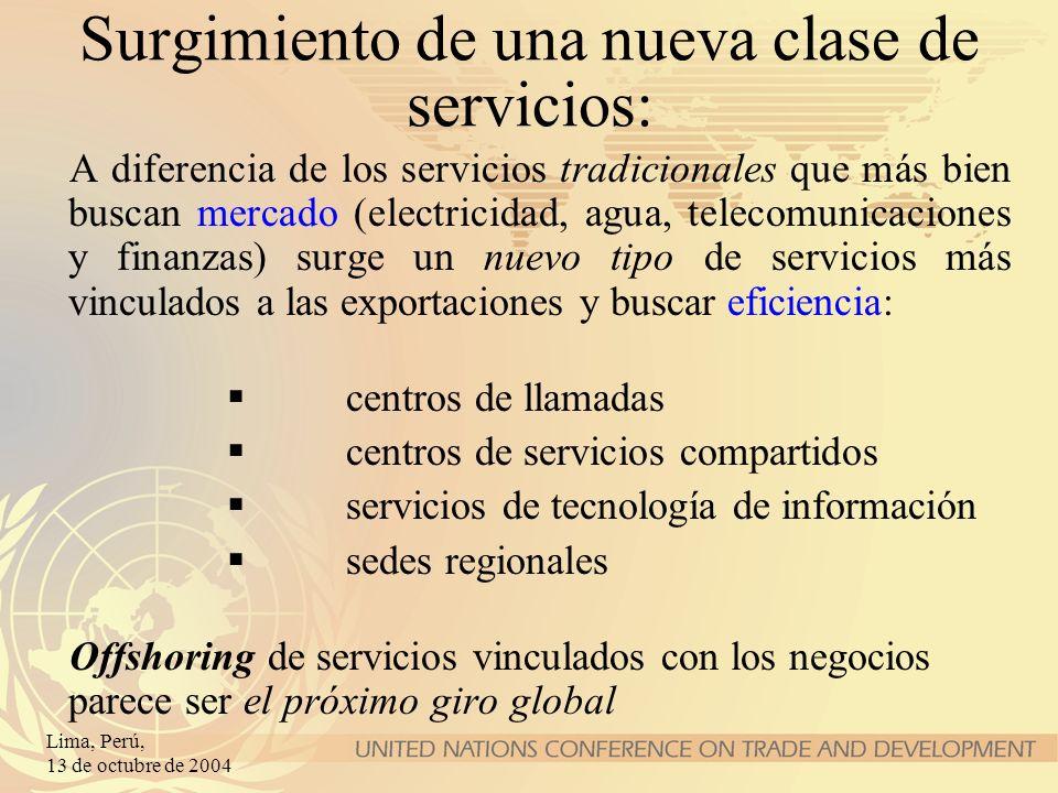 Lima, Perú, 13 de octubre de 2004 Surgimiento de una nueva clase de servicios: A diferencia de los servicios tradicionales que más bien buscan mercado