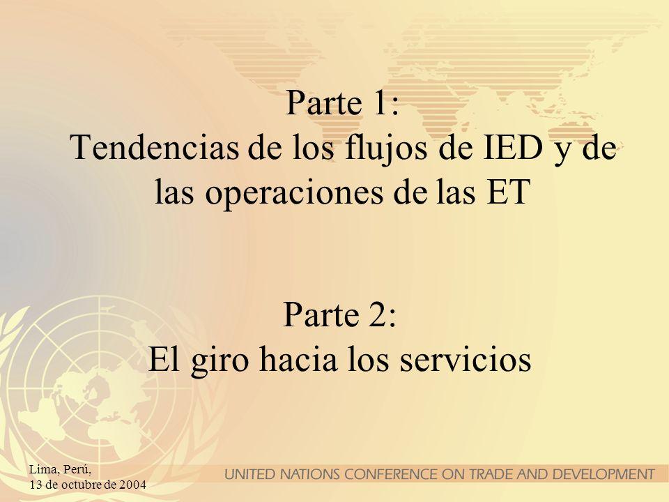Lima, Perú, 13 de octubre de 2004 (Miles de millones de dólares de EE.UU.) Indicadores de operaciones de las ET Ítem198219902000200120022003 Ingresos de IED 592091 388818679560 F&A transfronteriz....1511 144594370297 Filiales de las ET Venta de filiales 2 5415 47915 08716 47217 68517 580 Producto bruto 5941 4232 8073 2203 4373 706 Activos 1 9598 75923 46024 51726 54330 362 Exportaciones 6701 1692 5942 5092 6133 077 Empleo (miles) 17 98723 85851 01350 25453 09454 170