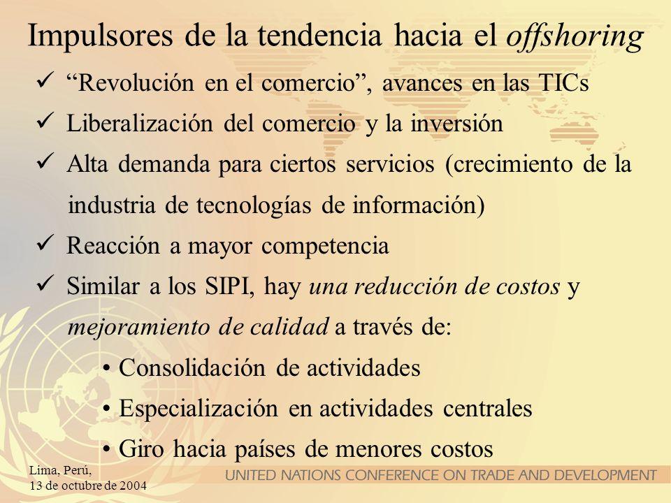 Lima, Perú, 13 de octubre de 2004 Impulsores de la tendencia hacia el offshoring Revolución en el comercio, avances en las TICs Liberalización del com