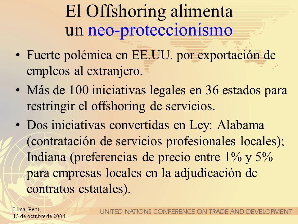 Lima, Perú, 13 de octubre de 2004 El Offshoring alimenta un neo-proteccionismo Fuerte polémica en EE.UU. por exportación de empleos al extranjero. Más