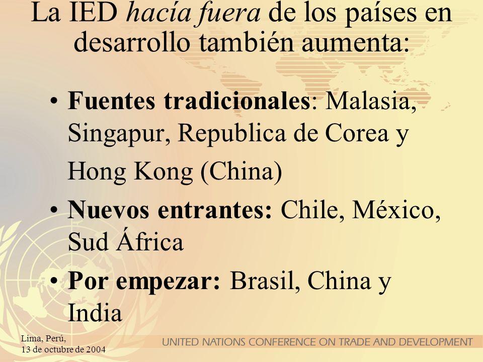 Lima, Perú, 13 de octubre de 2004 La promoción de la IED en servicios Las API están « targeting » los servicios cada vez más Los Acuerdos Internacionales sobre Inversión se proliferan: A niveles bilateral, (sub)regional y multilateral APPRI, TLC Canadá-Chile, Comunidad Andina, acuerdo EFTA-Singapur, GATS...