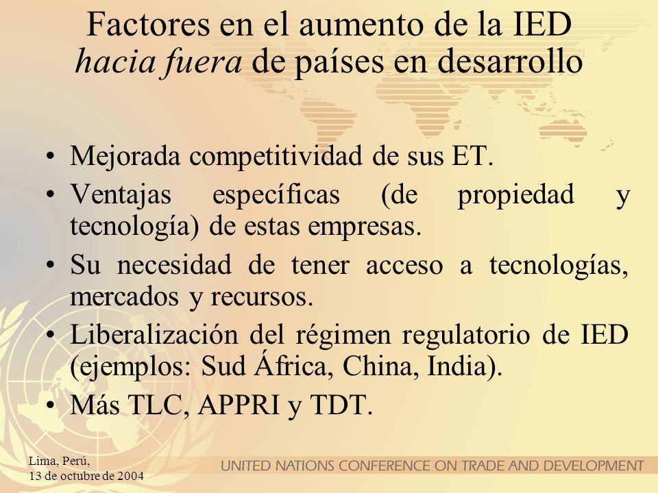 Lima, Perú, 13 de octubre de 2004 Factores en el aumento de la IED hacia fuera de países en desarrollo Mejorada competitividad de sus ET. Ventajas esp