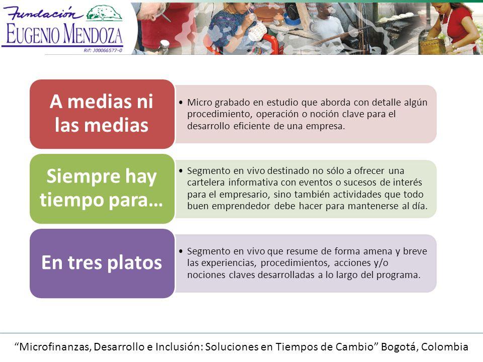 Microfinanzas, Desarrollo e Inclusión: Soluciones en Tiempos de Cambio Bogotá, Colombia Micro grabado en estudio que aborda con detalle algún procedimiento, operación o noción clave para el desarrollo eficiente de una empresa.