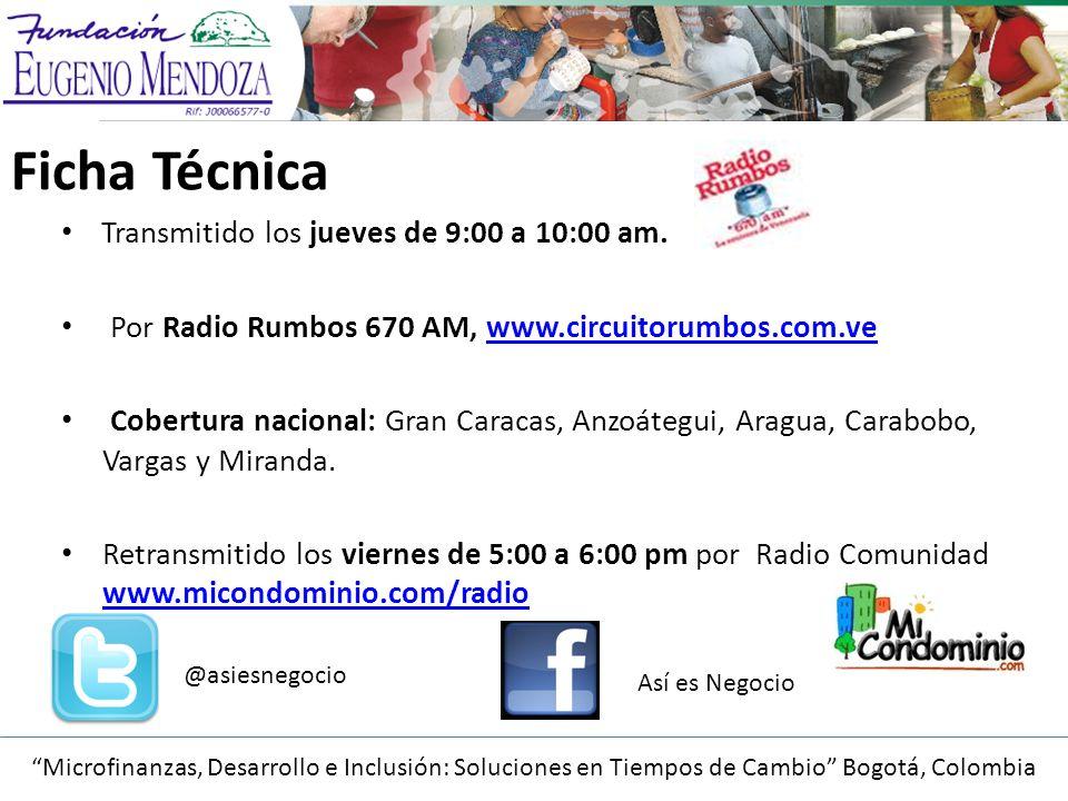 Microfinanzas, Desarrollo e Inclusión: Soluciones en Tiempos de Cambio Bogotá, Colombia Ficha Técnica Transmitido los jueves de 9:00 a 10:00 am.