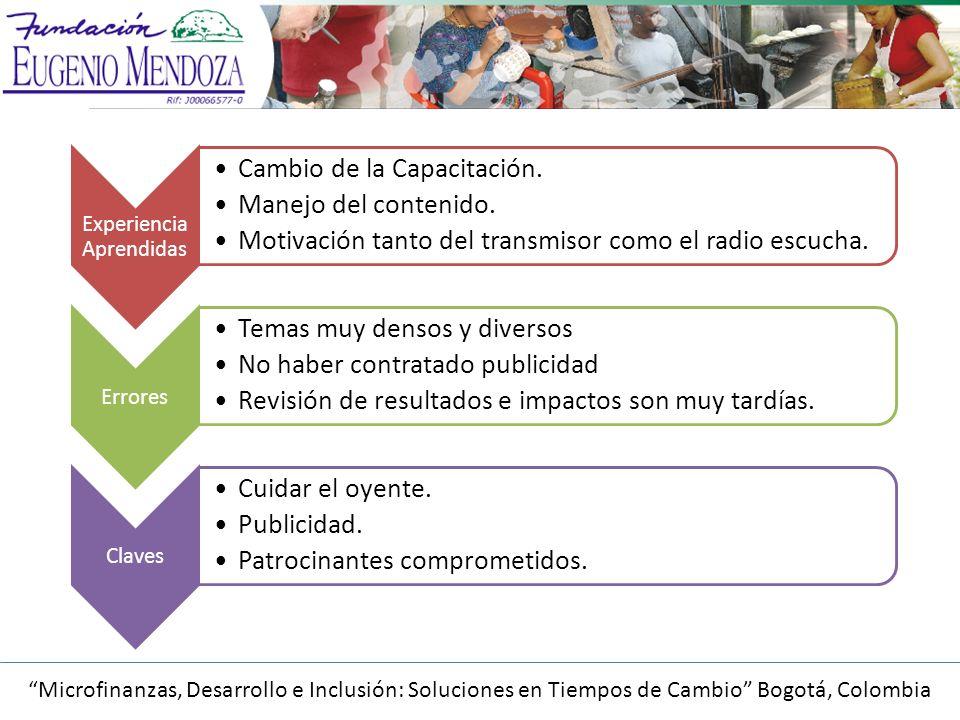 Microfinanzas, Desarrollo e Inclusión: Soluciones en Tiempos de Cambio Bogotá, Colombia Experiencia Aprendidas Cambio de la Capacitación.