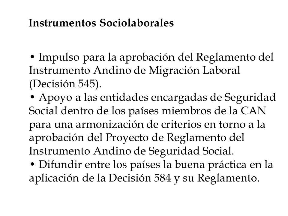Instrumentos Sociolaborales Impulso para la aprobación del Reglamento del Instrumento Andino de Migración Laboral (Decisión 545).