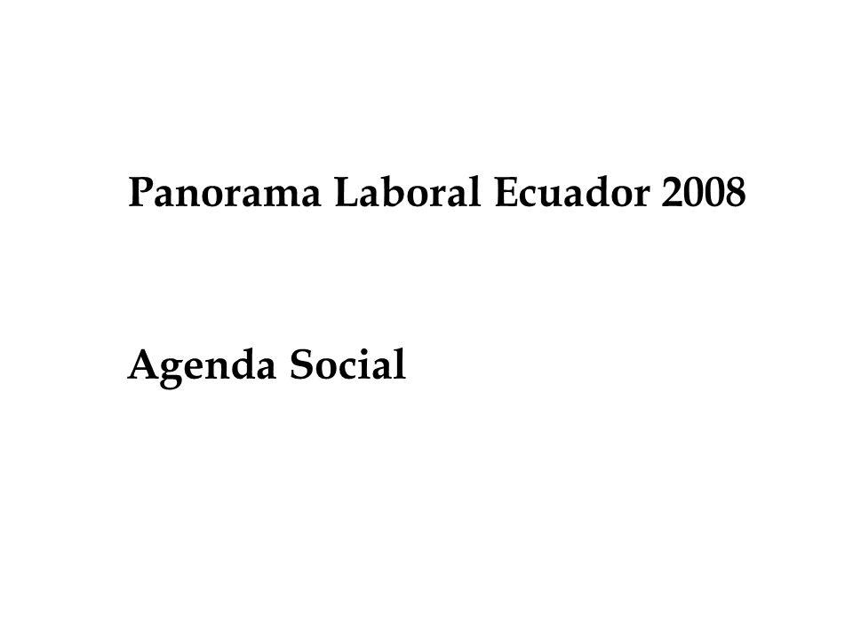 Panorama Laboral Ecuador 2008 Agenda Social