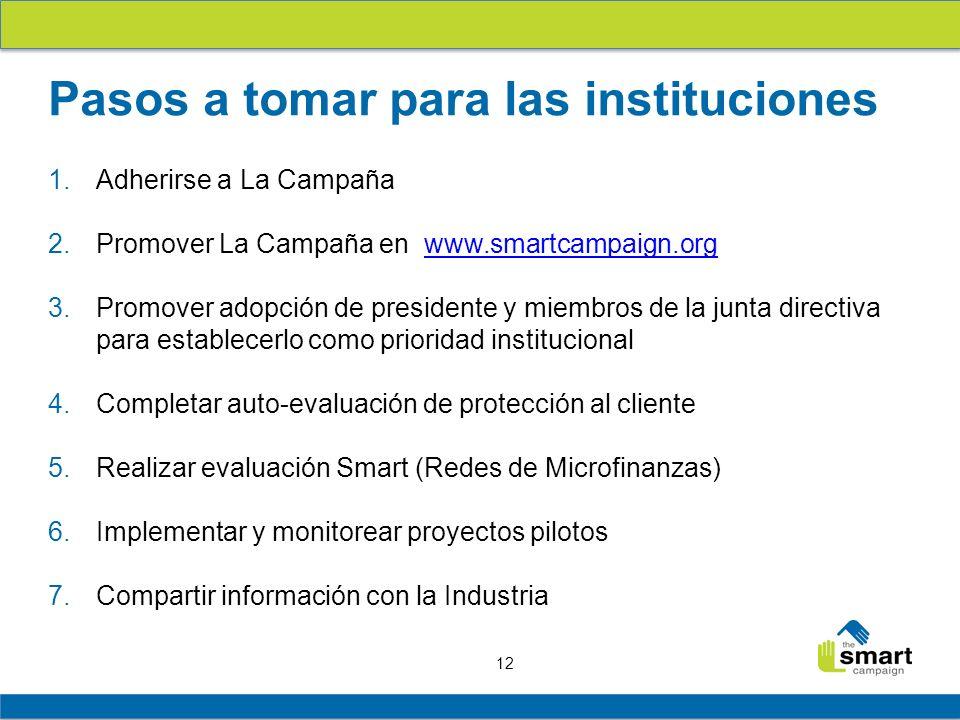 12 1.Adherirse a La Campaña 2.Promover La Campaña en www.smartcampaign.orgwww.smartcampaign.org 3.Promover adopción de presidente y miembros de la jun