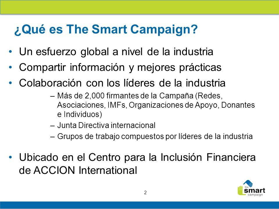 2 ¿Qué es The Smart Campaign? Un esfuerzo global a nivel de la industria Compartir información y mejores prácticas Colaboración con los líderes de la