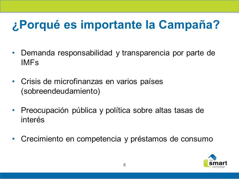 6 Demanda responsabilidad y transparencia por parte de IMFs Crisis de microfinanzas en varios países (sobreendeudamiento) Preocupación pública y polít