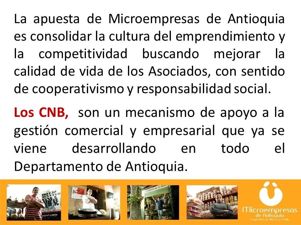 La apuesta de Microempresas de Antioquia es consolidar la cultura del emprendimiento y la competitividad buscando mejorar la calidad de vida de los Asociados, con sentido de cooperativismo y responsabilidad social.