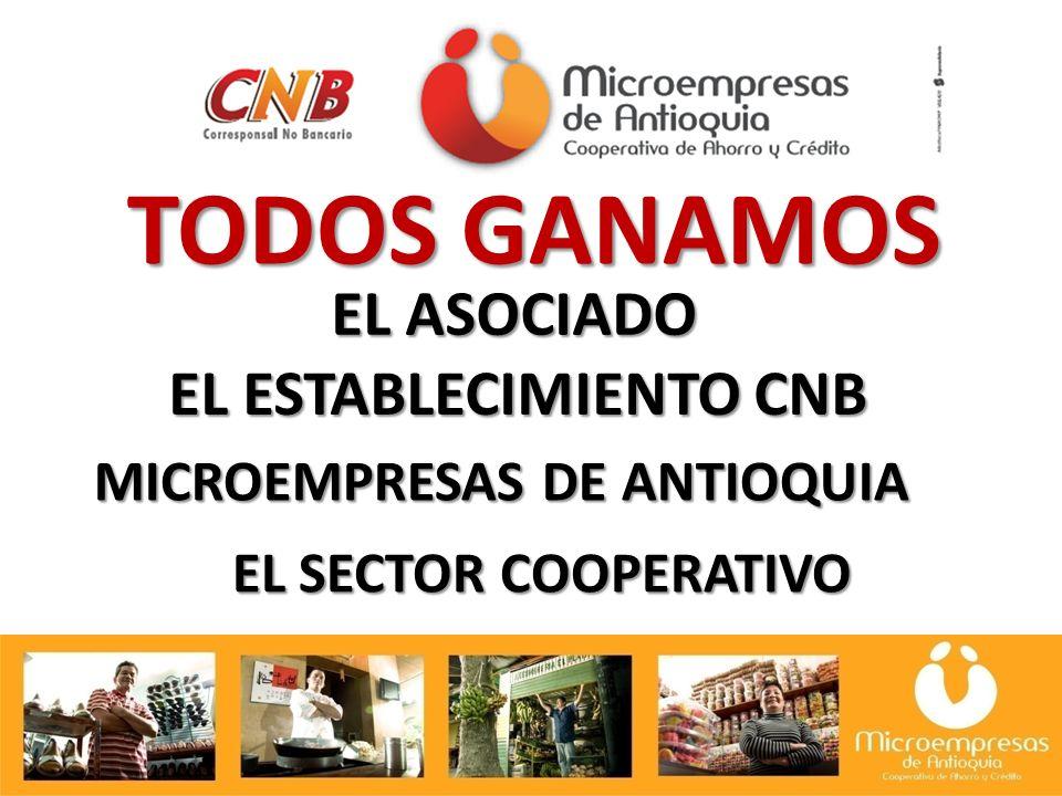 EL SECTOR COOPERATIVO TODOS GANAMOS EL ASOCIADO EL ESTABLECIMIENTO CNB MICROEMPRESAS DE ANTIOQUIA