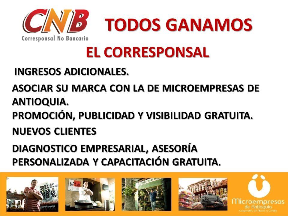 TODOS GANAMOS EL CORRESPONSAL INGRESOS ADICIONALES.