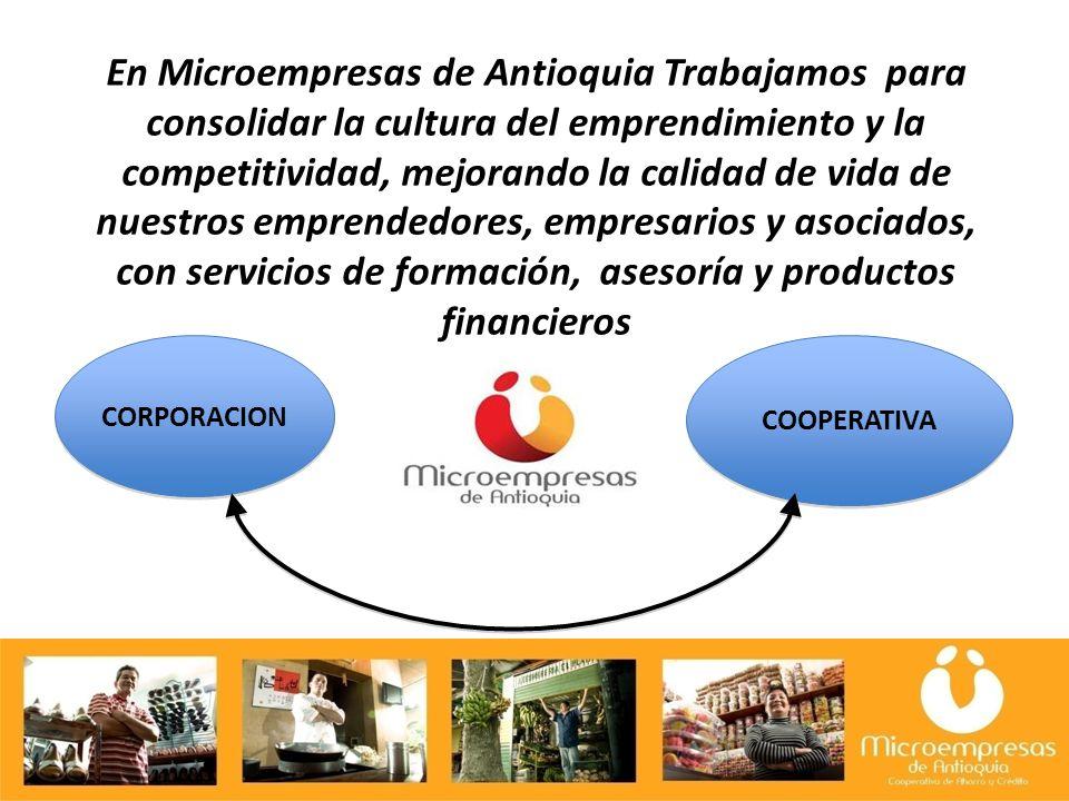 En Microempresas de Antioquia Trabajamos para consolidar la cultura del emprendimiento y la competitividad, mejorando la calidad de vida de nuestros emprendedores, empresarios y asociados, con servicios de formación, asesoría y productos financieros CORPORACION COOPERATIVA