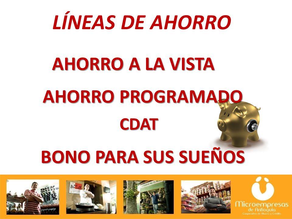 CDAT LÍNEAS DE AHORRO AHORRO PROGRAMADO BONO PARA SUS SUEÑOS AHORRO A LA VISTA