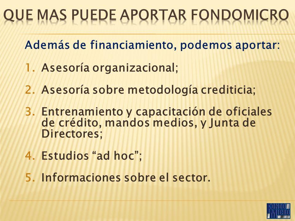 Además de financiamiento, podemos aportar: 1.Asesoría organizacional; 2.Asesoría sobre metodología crediticia; 3.Entrenamiento y capacitación de oficiales de crédito, mandos medios, y Junta de Directores; 4.Estudios ad hoc; 5.Informaciones sobre el sector.