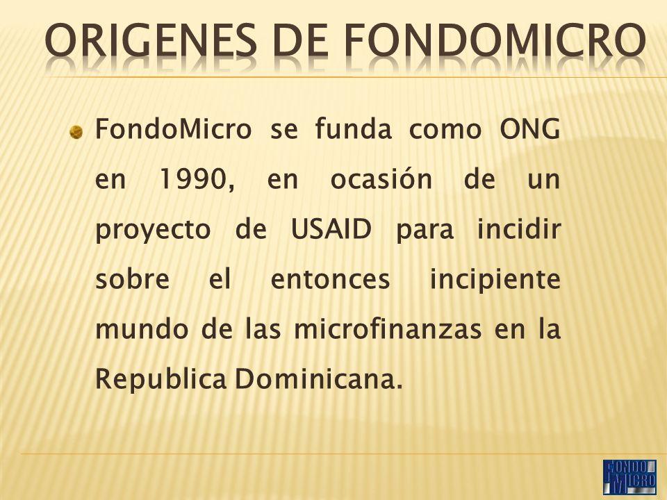 FondoMicro se funda como ONG en 1990, en ocasión de un proyecto de USAID para incidir sobre el entonces incipiente mundo de las microfinanzas en la Republica Dominicana.