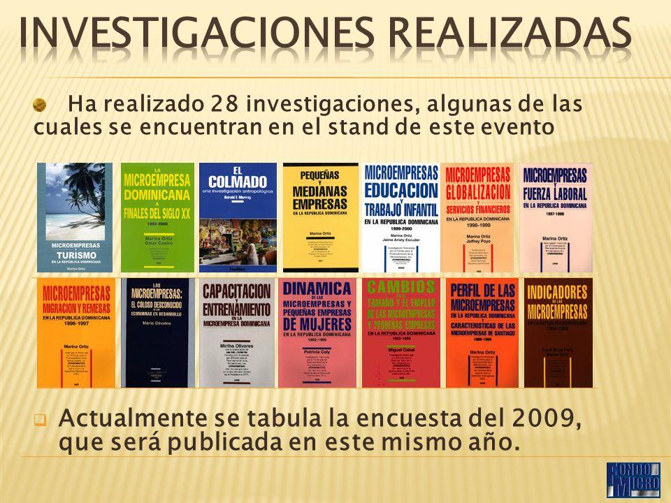 Ha realizado 28 investigaciones, algunas de las cuales se encuentran en el stand de este evento Actualmente se tabula la encuesta del 2009, que será publicada en este mismo año.