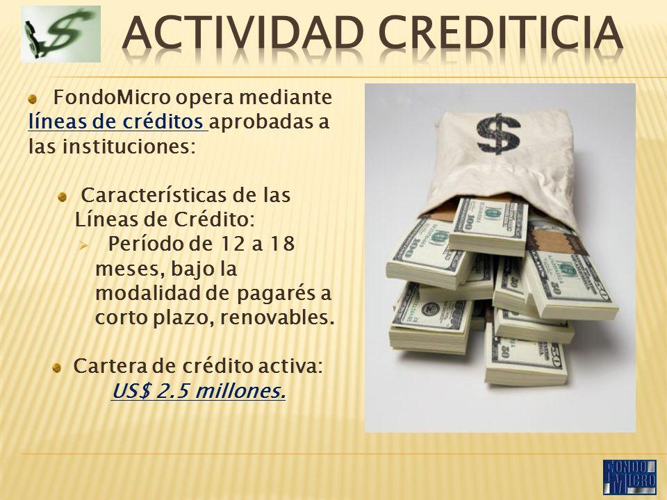 FondoMicro opera mediante líneas de créditos aprobadas a las instituciones: Características de las Líneas de Crédito: Período de 12 a 18 meses, bajo la modalidad de pagarés a corto plazo, renovables.