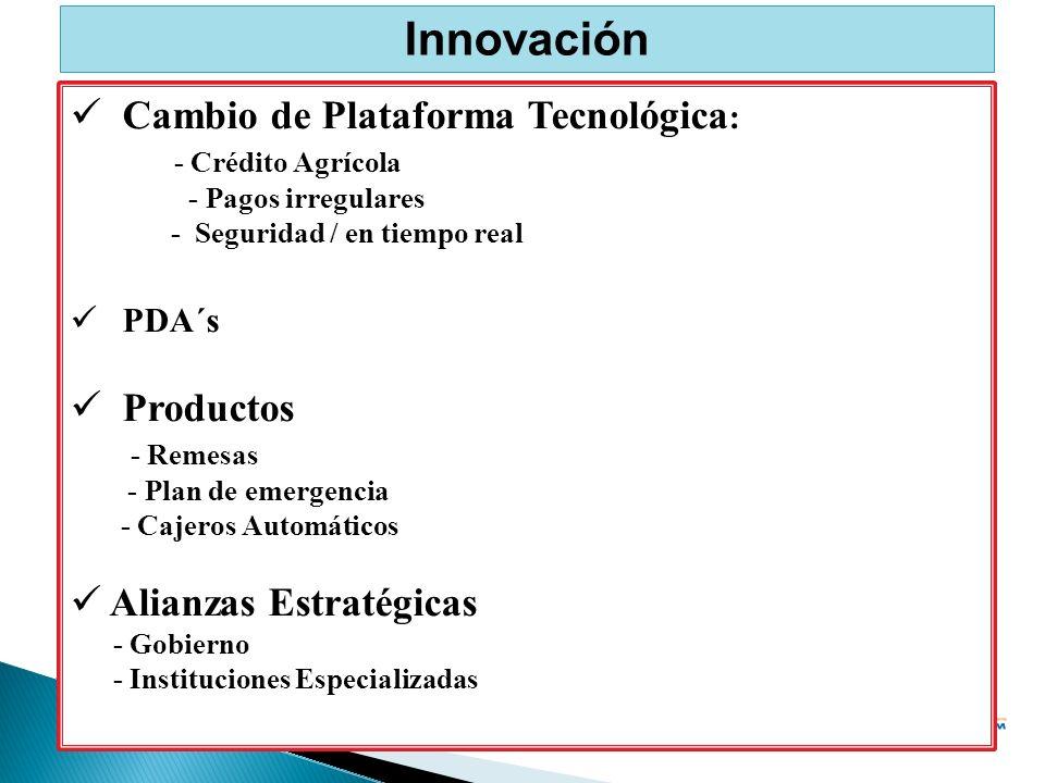 Innovación Cambio de Plataforma Tecnológica : - Crédito Agrícola - Pagos irregulares - Seguridad / en tiempo real PDA´s Productos - Remesas - Plan de