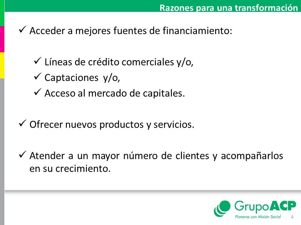 Acceder a mejores fuentes de financiamiento: Líneas de crédito comerciales y/o, Captaciones y/o, Acceso al mercado de capitales. Ofrecer nuevos produc