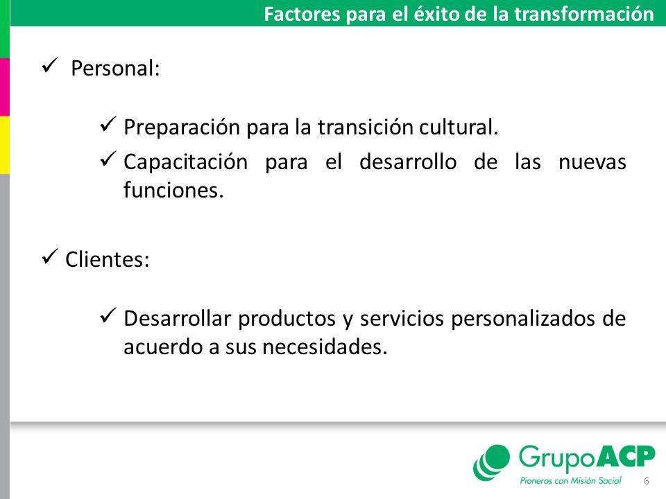 Personal: Preparación para la transición cultural. Capacitación para el desarrollo de las nuevas funciones. Clientes: Desarrollar productos y servicio