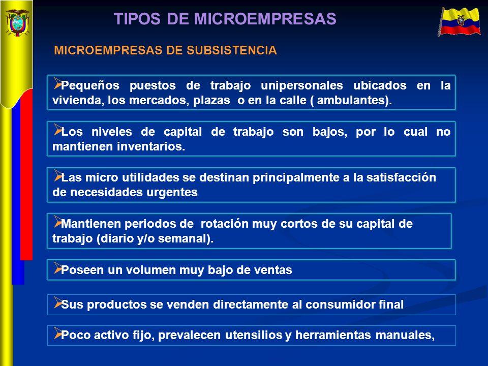 TIPOS DE MICROEMPRESAS Pequeños puestos de trabajo unipersonales ubicados en la vivienda, los mercados, plazas o en la calle ( ambulantes). Los nivele