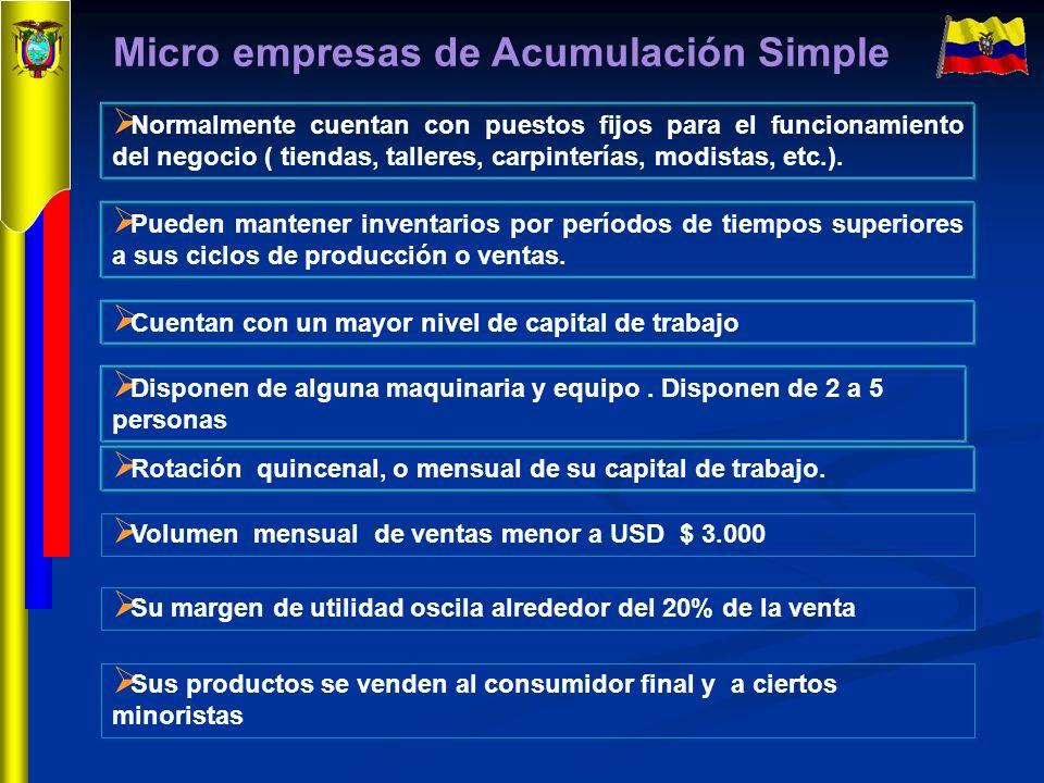 Micro empresas de Acumulación Simple Normalmente cuentan con puestos fijos para el funcionamiento del negocio ( tiendas, talleres, carpinterías, modis