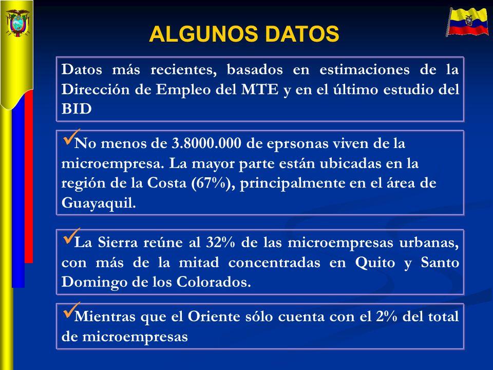 ALGUNOS DATOS Mientras que el Oriente sólo cuenta con el 2% del total de microempresas Datos más recientes, basados en estimaciones de la Dirección de