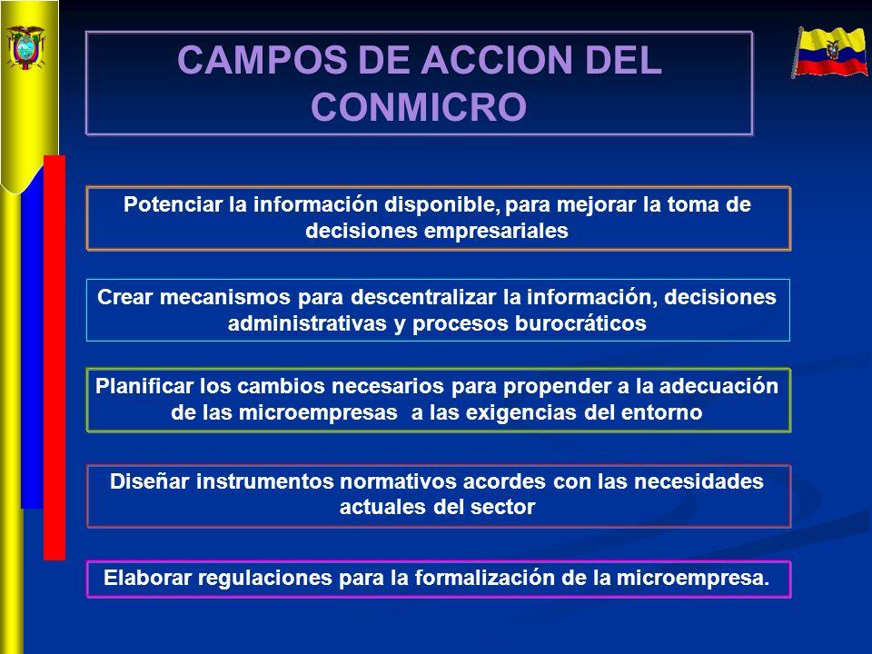 CAMPOS DE ACCION DEL CONMICRO Potenciar la información disponible, para mejorar la toma de decisiones empresariales Crear mecanismos para descentraliz