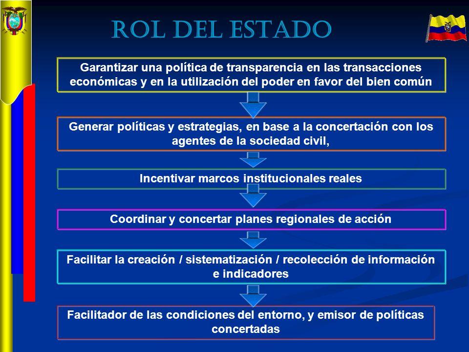 Garantizar una política de transparencia en las transacciones económicas y en la utilización del poder en favor del bien común Generar políticas y est