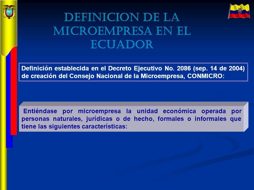 Definición establecida en el Decreto Ejecutivo No. 2086 (sep. 14 de 2004) de creación del Consejo Nacional de la Microempresa, CONMICRO: Entiéndase po