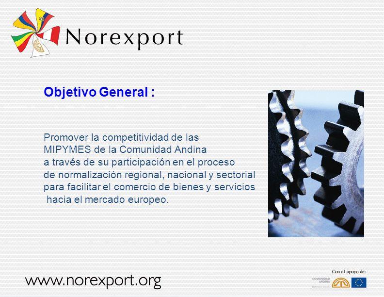 Objetivo General : Promover la competitividad de las MIPYMES de la Comunidad Andina a través de su participación en el proceso de normalización region