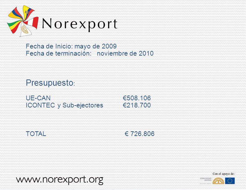 Fecha de Inicio: mayo de 2009 Fecha de terminación: noviembre de 2010 Presupuesto : UE-CAN 508.106 ICONTEC y Sub-ejectores218.700 TOTAL 726.806