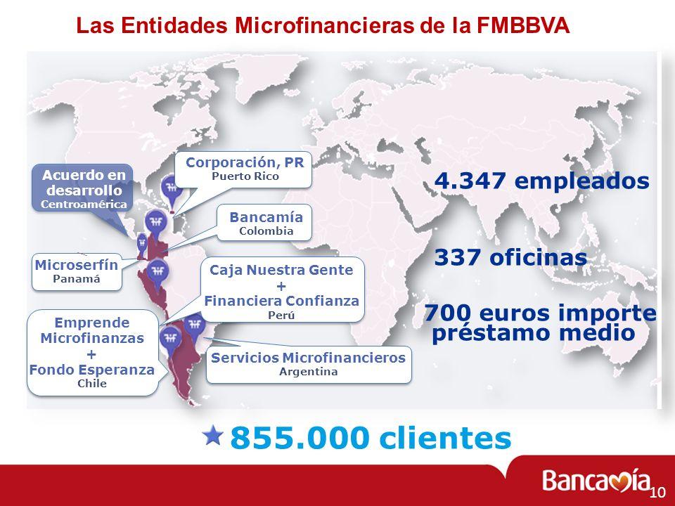 Las Entidades Microfinancieras de la FMBBVA Corporación, PR Puerto Rico Bancamía Colombia Emprende Microfinanzas + Fondo Esperanza Chile Caja Nuestra
