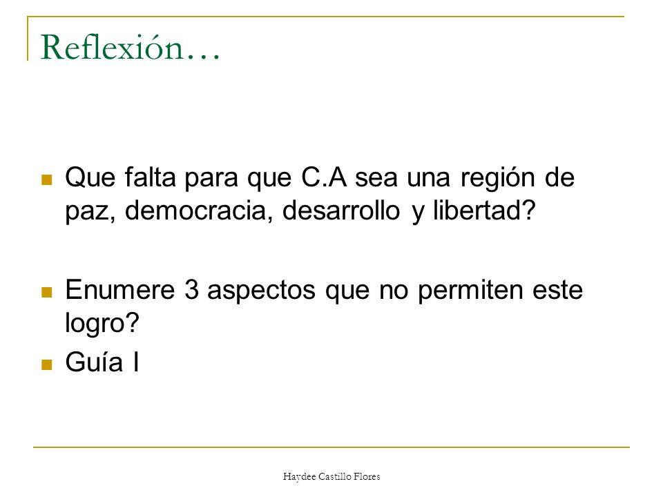 Haydee Castillo Flores Reflexión… Que falta para que C.A sea una región de paz, democracia, desarrollo y libertad? Enumere 3 aspectos que no permiten