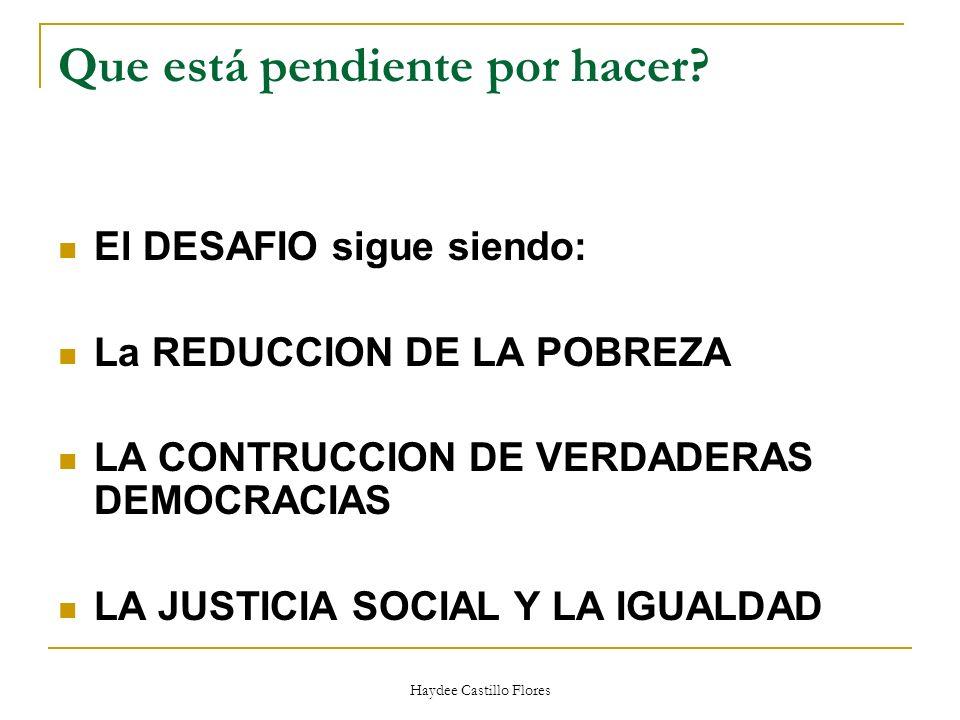 Haydee Castillo Flores Que está pendiente por hacer? El DESAFIO sigue siendo: La REDUCCION DE LA POBREZA LA CONTRUCCION DE VERDADERAS DEMOCRACIAS LA J