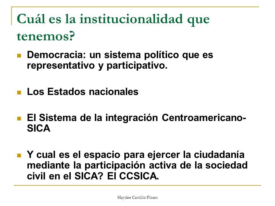 Haydee Castillo Flores Cuál es la institucionalidad que tenemos? Democracia: un sistema político que es representativo y participativo. Los Estados na