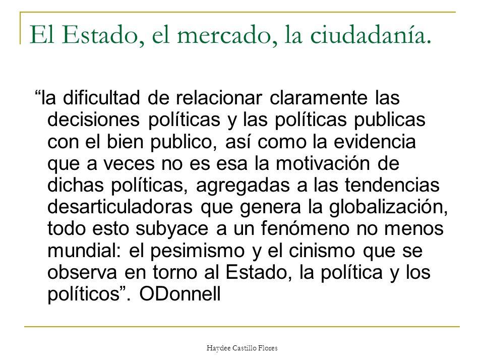 Haydee Castillo Flores El Estado, el mercado, la ciudadanía. la dificultad de relacionar claramente las decisiones políticas y las políticas publicas