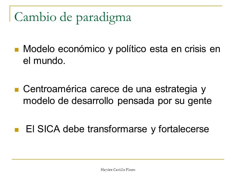Haydee Castillo Flores Cambio de paradigma Modelo económico y político esta en crisis en el mundo. Centroamérica carece de una estrategia y modelo de