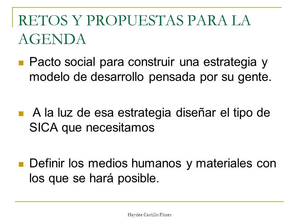 Haydee Castillo Flores RETOS Y PROPUESTAS PARA LA AGENDA Pacto social para construir una estrategia y modelo de desarrollo pensada por su gente. A la