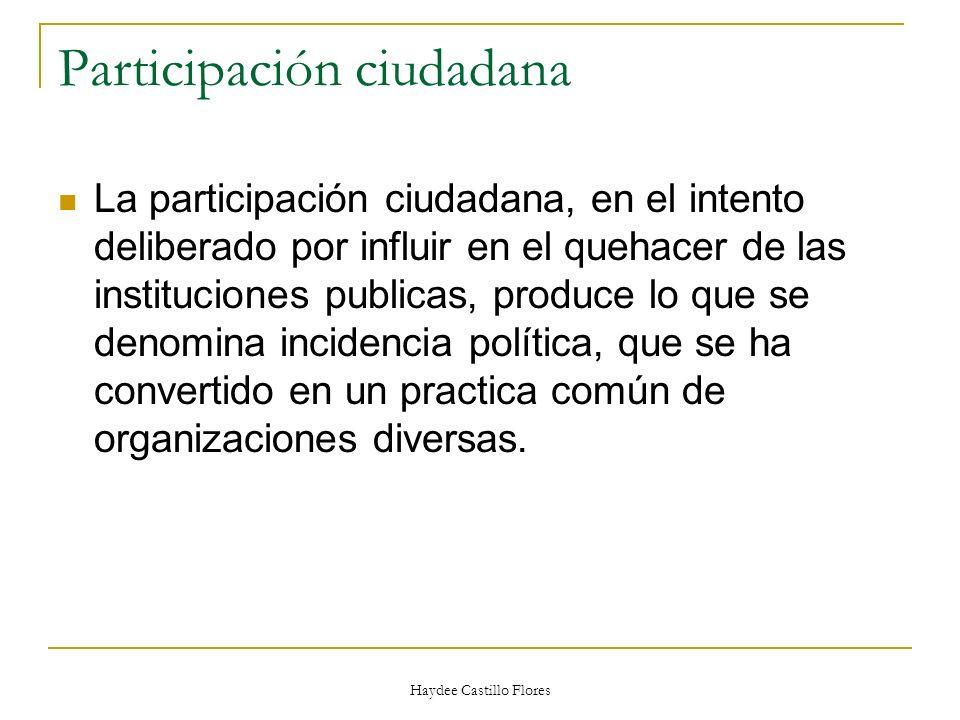 Haydee Castillo Flores Participación ciudadana La participación ciudadana, en el intento deliberado por influir en el quehacer de las instituciones pu