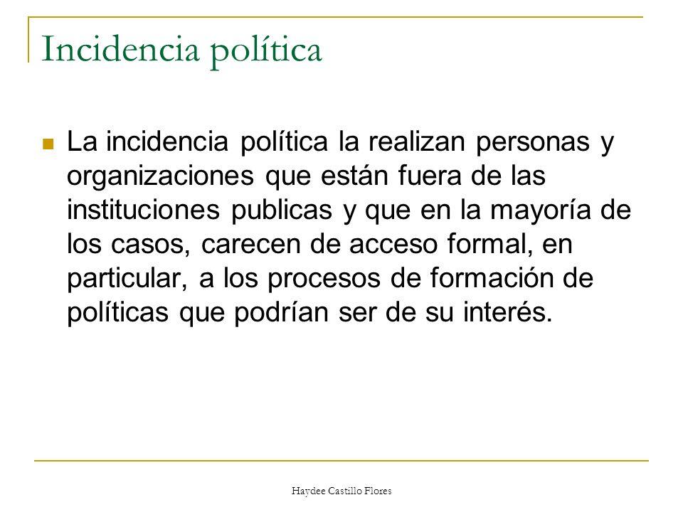 Haydee Castillo Flores Incidencia política La incidencia política la realizan personas y organizaciones que están fuera de las instituciones publicas
