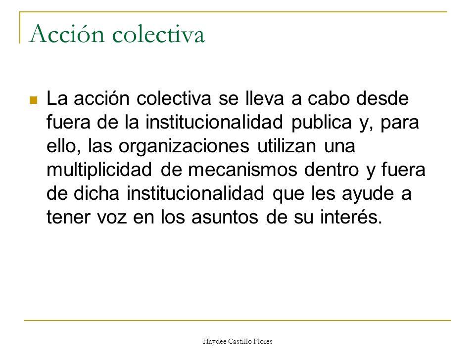 Haydee Castillo Flores Acción colectiva La acción colectiva se lleva a cabo desde fuera de la institucionalidad publica y, para ello, las organizacion