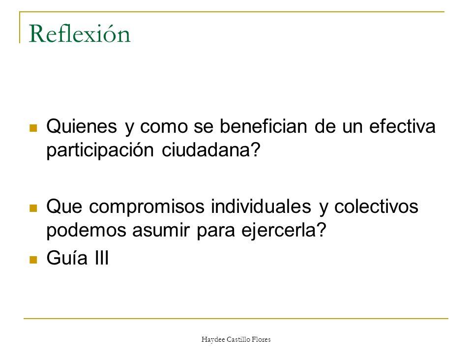 Haydee Castillo Flores Reflexión Quienes y como se benefician de un efectiva participación ciudadana? Que compromisos individuales y colectivos podemo