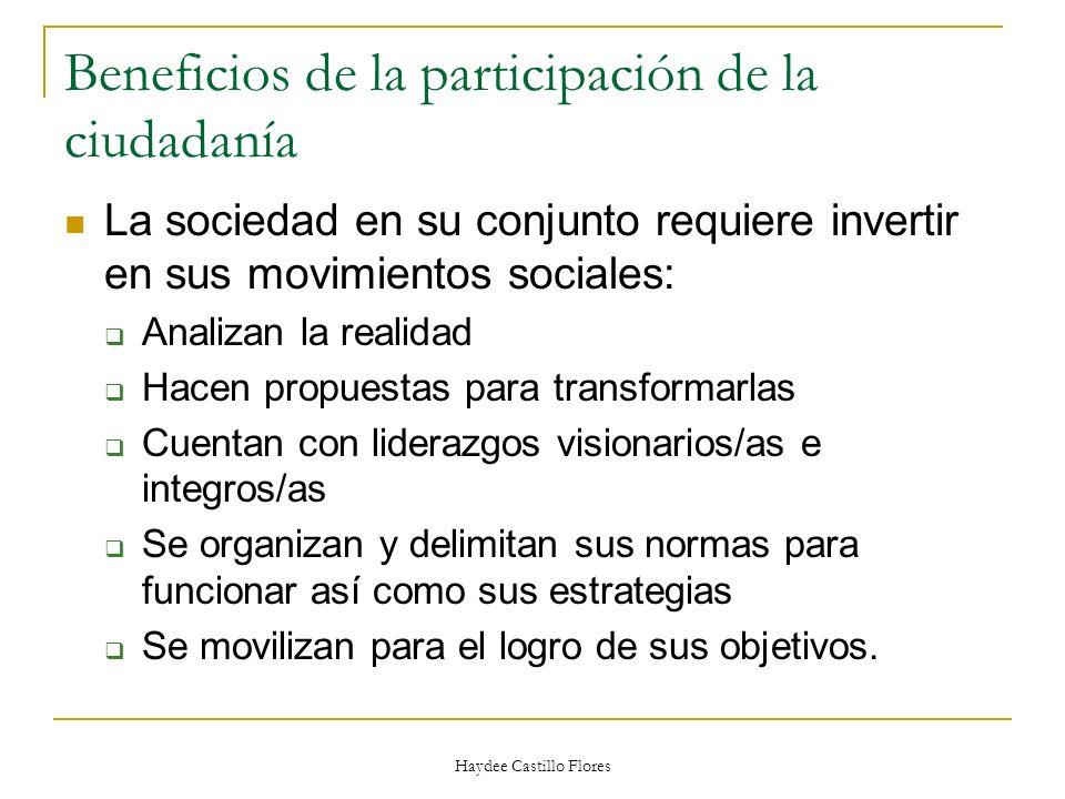 Haydee Castillo Flores Beneficios de la participación de la ciudadanía La sociedad en su conjunto requiere invertir en sus movimientos sociales: Anali